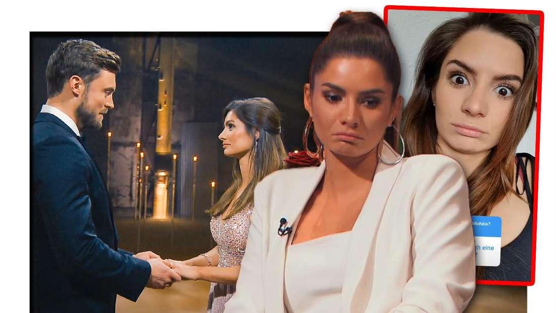 Fotomontage: Michèle in der Mitte, sie schaut traurig, rechts ein Screenshot ihrer Instastory, rechts ein Bild vom Bachelor-FInale