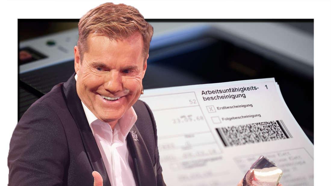 Dieter Bohlen zuckt mit den Schultern - im Hintergrund sieht man eine Krankmeldung (Fotomontage)