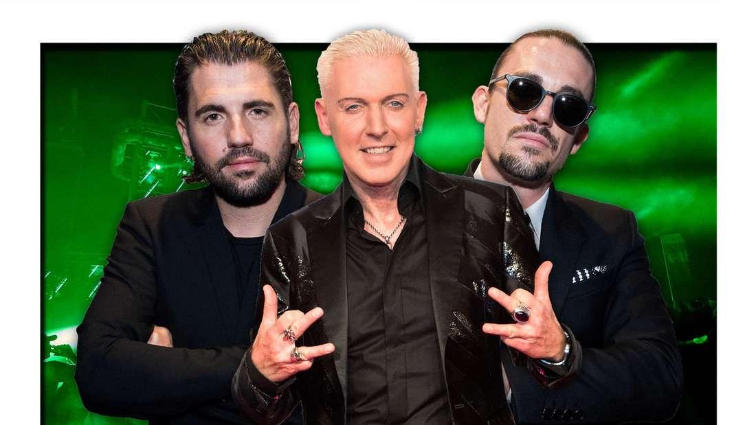 Scooter-Frontmann H.P. Baxxter steht neben Dimitri Vegas & Like Mike vor grünem Hintergrund (Fotomontage)