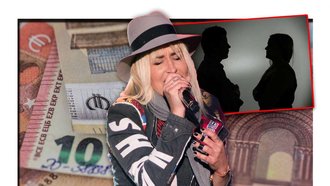 Sarah Connor steht vor mehreren Euro-Scheinen, daneben die Silhouetten zweier streitender Personen (Fotomontage)