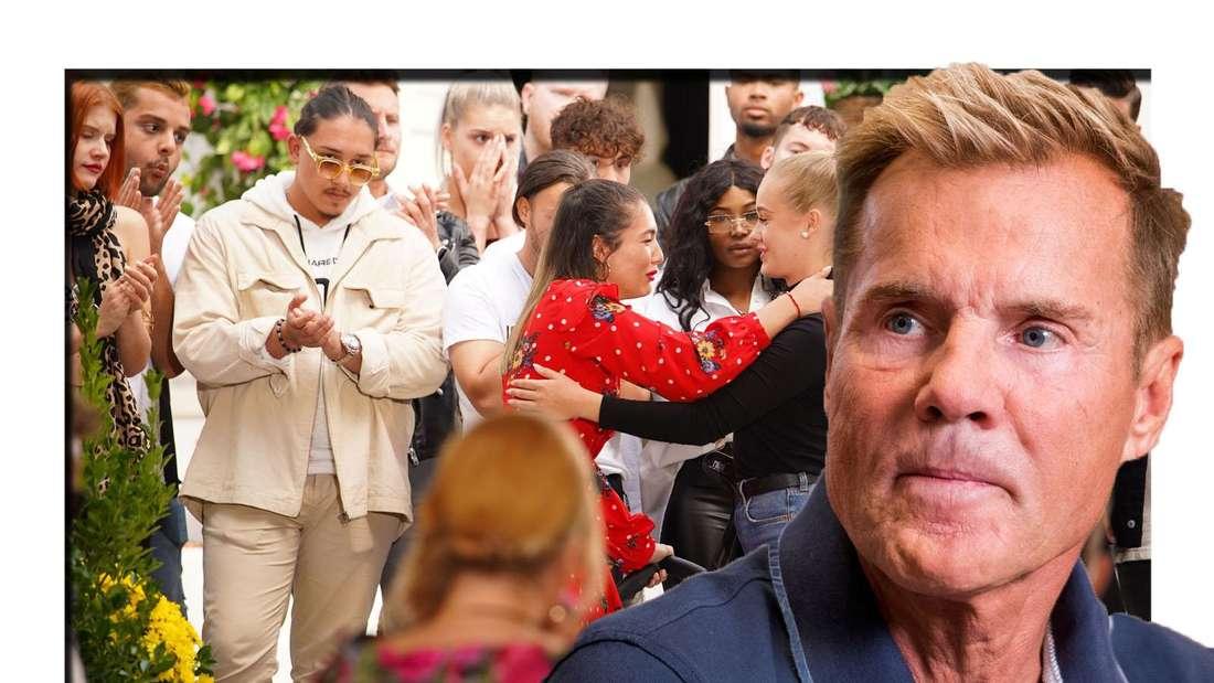 Dieter Bohlen schaut entsetzt in die Kamera - im Hintergrund sieht man die DSDS-Kandidaten (Fotomontage)