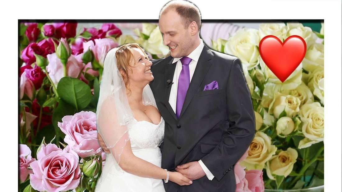 """Fotomontage: """"Hochzeit auf den ersten Blick""""-Paar Bea und Tim vor Rosenhintergrund"""