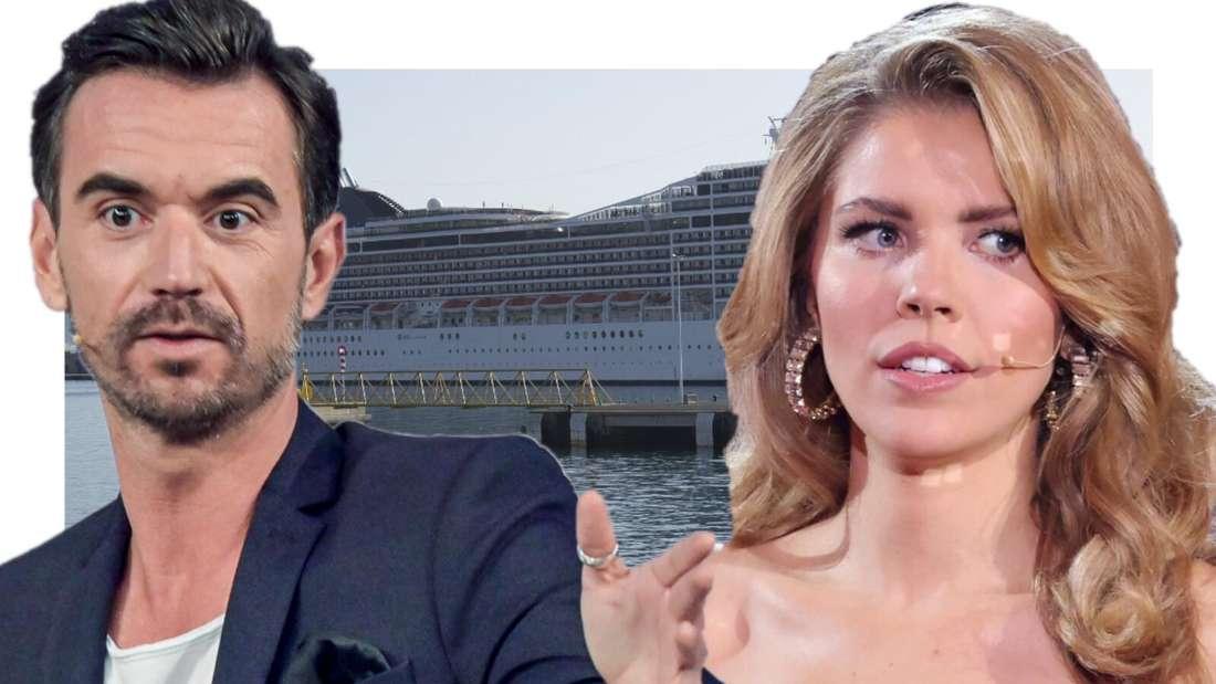 Victoria Swarovski und Schlagerstar Florian Silbereisen vor dem Traumschiff (Fotomontage)