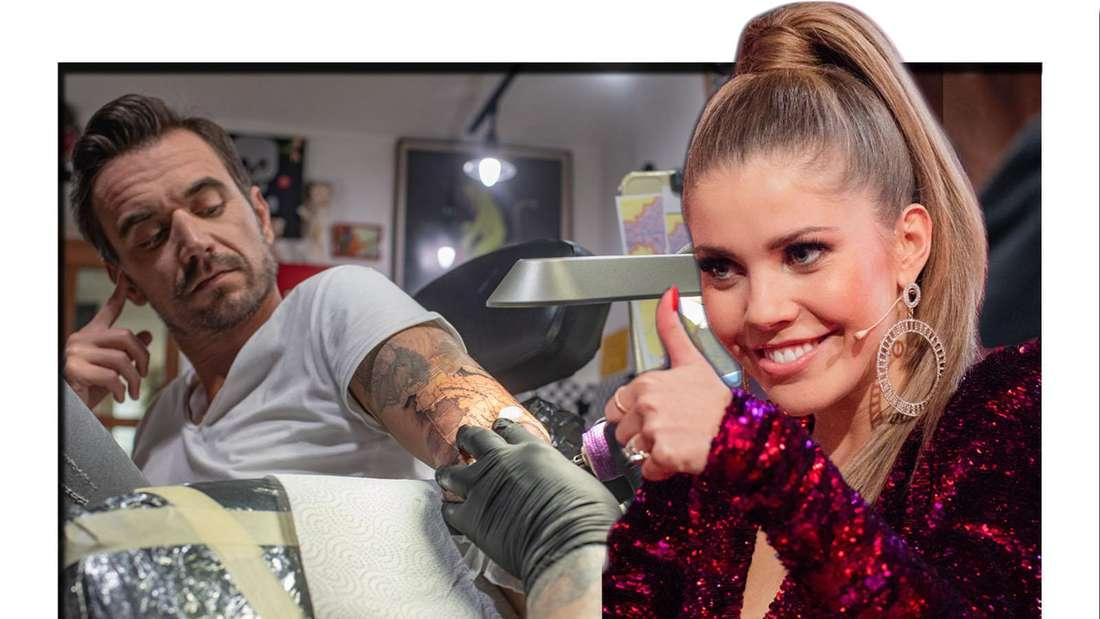Fotomontage: Florian Silbereisen im Tattoo-Studio und Victoria Swarovski