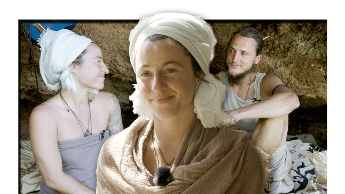 Fotomontage: Michaela in der Mitte, im Hintergrund ist sie mit ihrem Freund in der Höhle