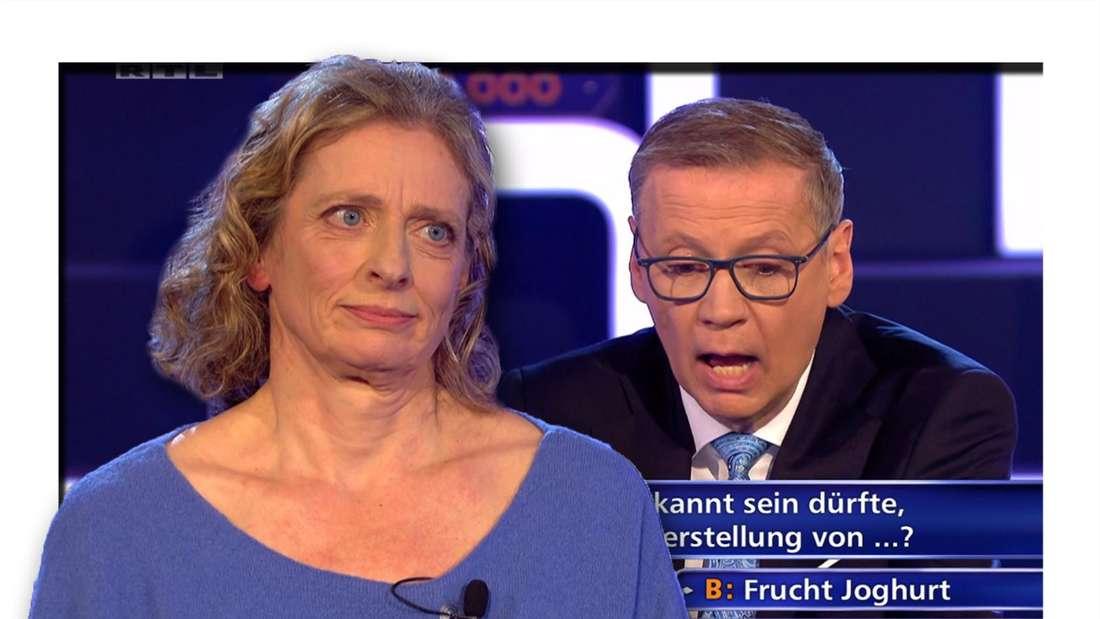 Fotomontage: Kandidatin im Vordergrund, sie schaut genervt, im Hintergrund Günther Jauch