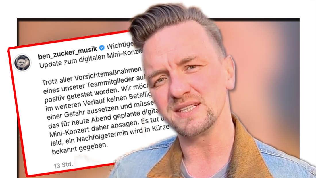 Ben Zucker am 29.03 in Berlin: Der Schlagersänger muss sein Livestream-Konzert wegen eines Coronafalls im Team kurzfristig absagen. (Fotomontage)