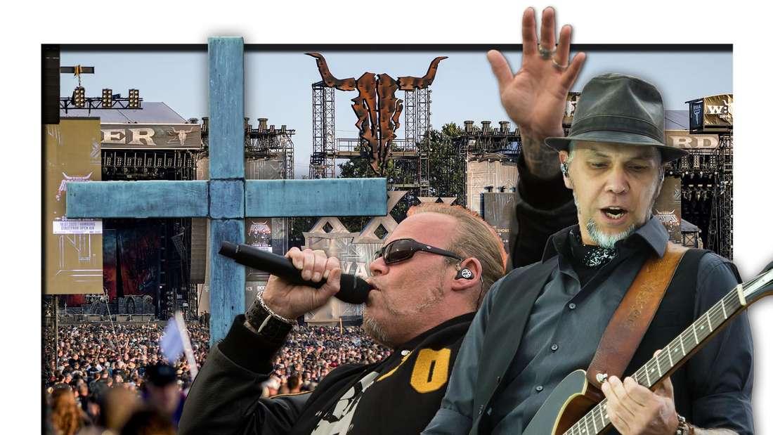 Böhse Onkelz-Frontmann Kevin Russell und Gitarrist Matthias Röhr neben einem Kreuz, dahinter das Wacken Open Air (Fotomontage)
