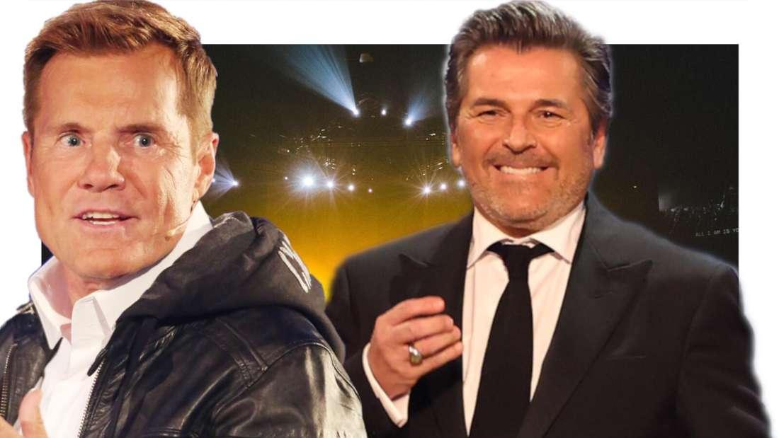 Thomas Anders lacht neben Dieter Bohlen, der etwas erschrocken aussieht (Fotomontage)