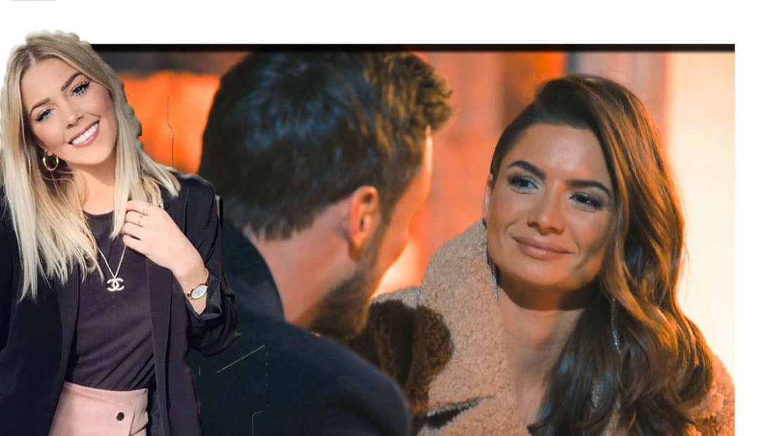 Michéles Freundin lächelt in die Kamera - im Hintergrund sieht man Michéle mit Niko. (Fotomontage)