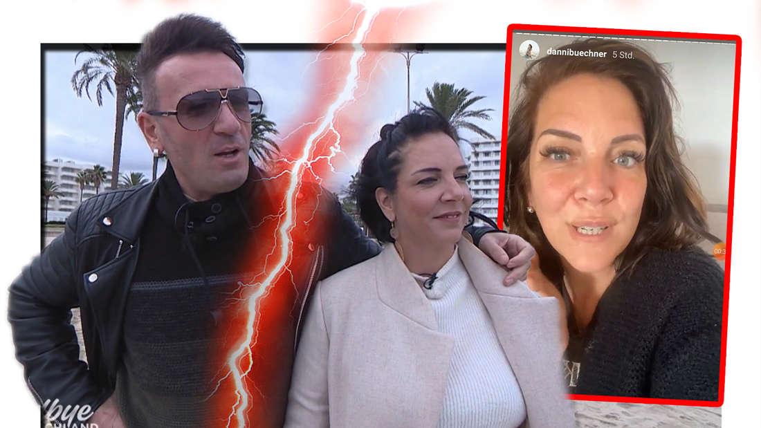 Fotomontage: Danni Büchner & Ennesto Monté getrennt durch einen Blitz, rechts ein Screenshot ihrer Instastory