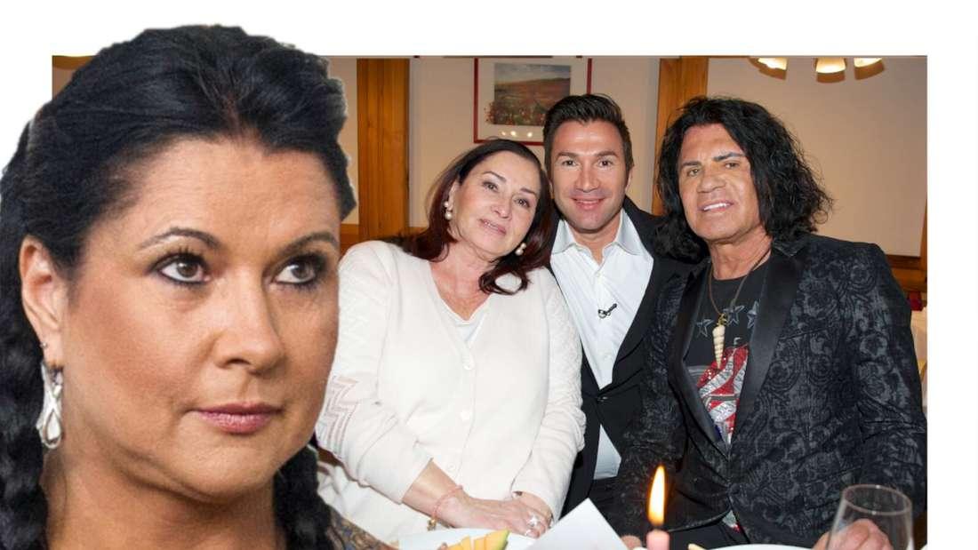 Iris Klein blickt auf ein Foto der Cordalis-Familie (Fotomontage)