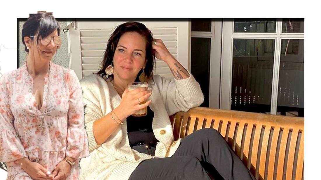 Danni Büchner trägt eine Sonnenbrille und schaut seitlich in die Kamera - im Hintergrund sieht man sie auf einer Bank sitzen (Fotomontage).