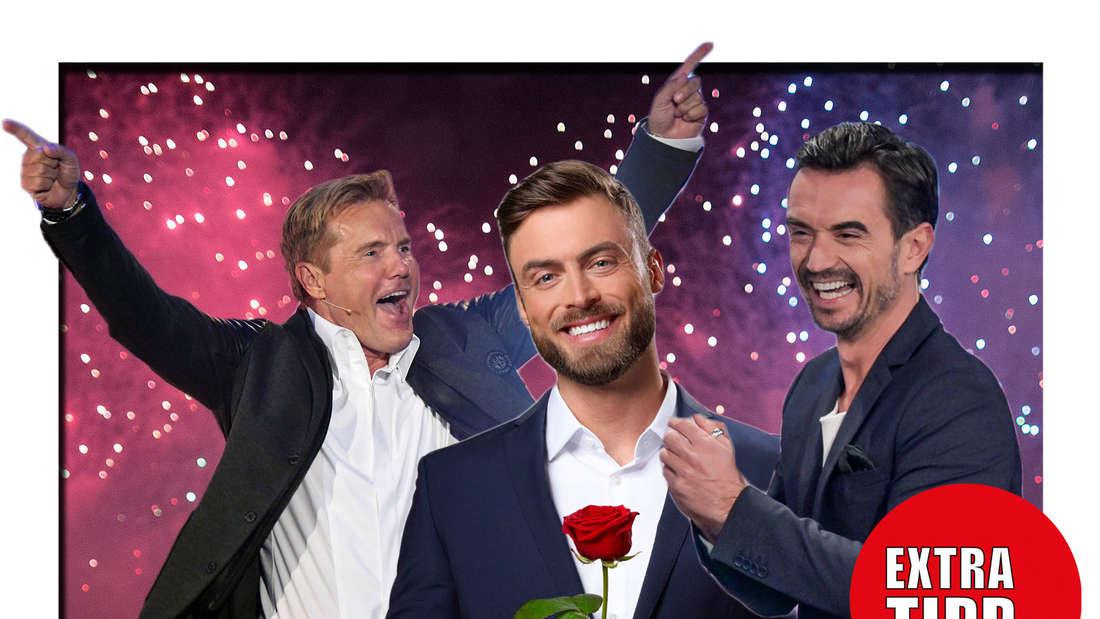 Fotomontage: Dieter Bohlen, Niko Grisert und Florian Silbereisen mit Extratipp Logo vor Feuerwerk Hintergrund