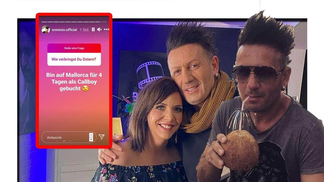 Enensto Monte trinkt eine Kokosnuss - im Hintergrund ist er mit Danni Büchner zu sehen (Fotomontage).