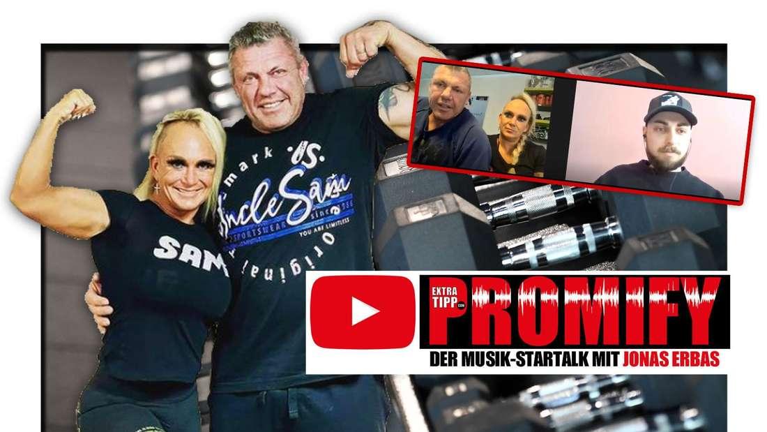 """Die """"Goodbye Deutschland""""-Stars Caro und Andreas Robens vor Hanteln, daneben ein Screenshot ihres Promify-Interviews mit Extratipp.com (Fotomontage)"""
