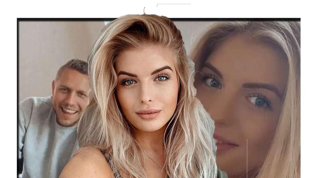 Antonia Hemmer lächelt in die Kamera - im Hintergrund ist sie gemeinsam mit Patrick zu sehen (Fotomontage)