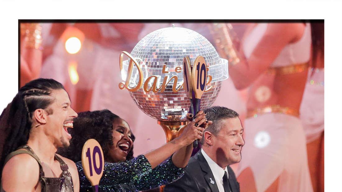 Motsi, Joachim und Jorge lachen in die Kamera - im Hintergrund sieht man den Let's Dance-Pokal (Fotomontage)