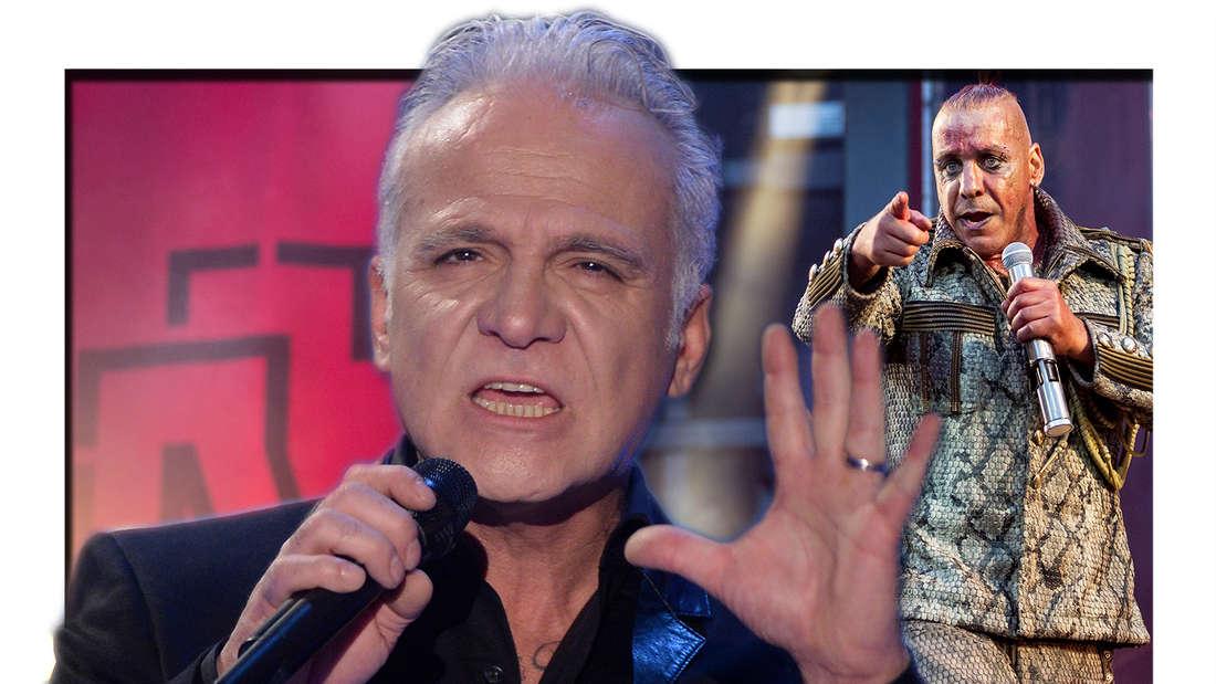 """Nino de Angelo tritt am 18.12.2014 bei der MDR-Aufzeichnung """"Weihnachten bei uns"""" auf. Till Lindemann, Frontsänger von Rammstein, tritt beim Konzert der Band Rammstein im Olympiastadion auf. (Fotomontage)"""