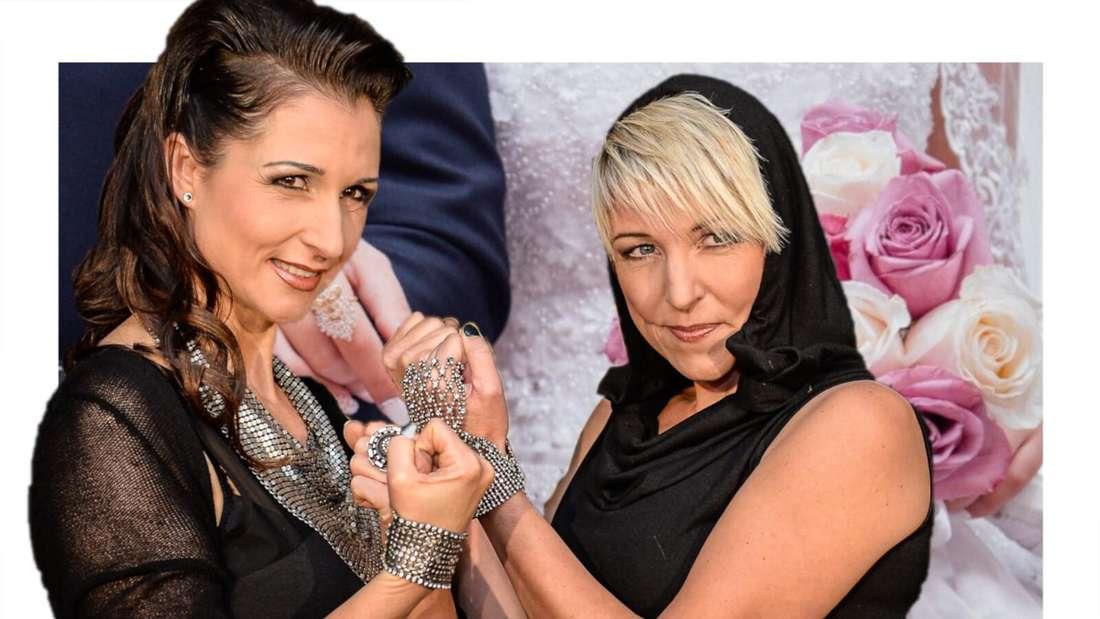 Anita und Alexandra Hofmann halten sich die gegenseitig die Fäuste hin, im Hintergrund ein Hochzeitspaar (Fotomontage)