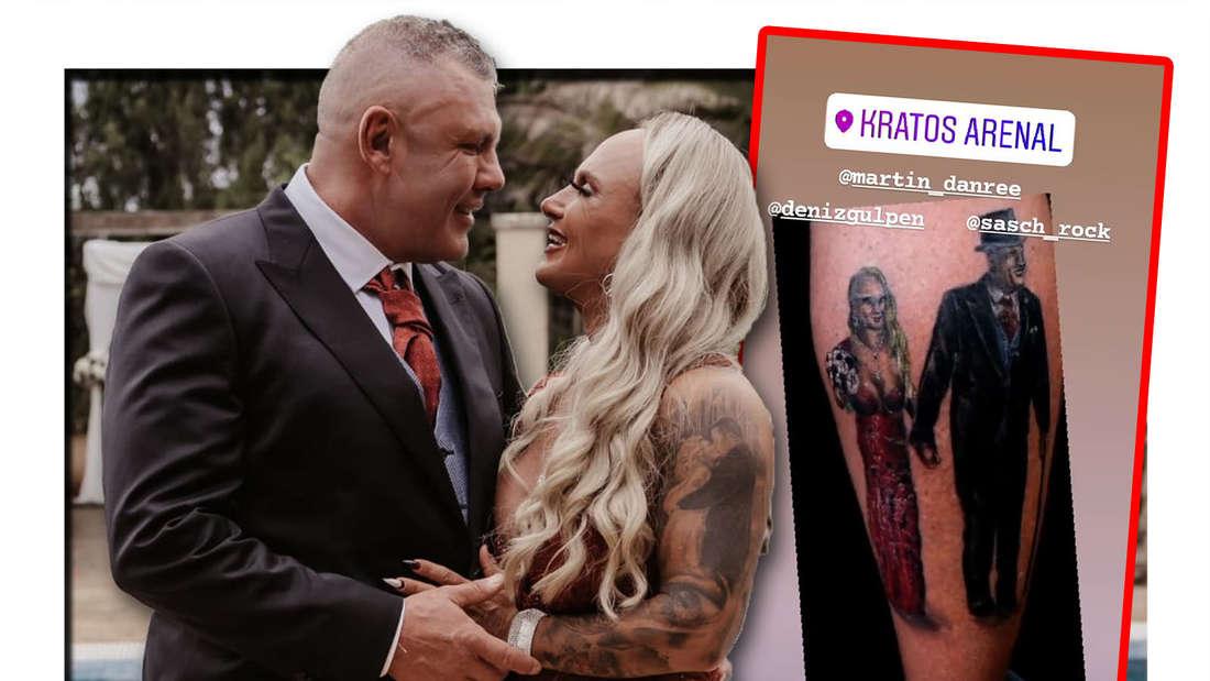 Fotomontage: Caro und Andreas Robens bei ihrer Hochzeit, daneben das neue Tattoo