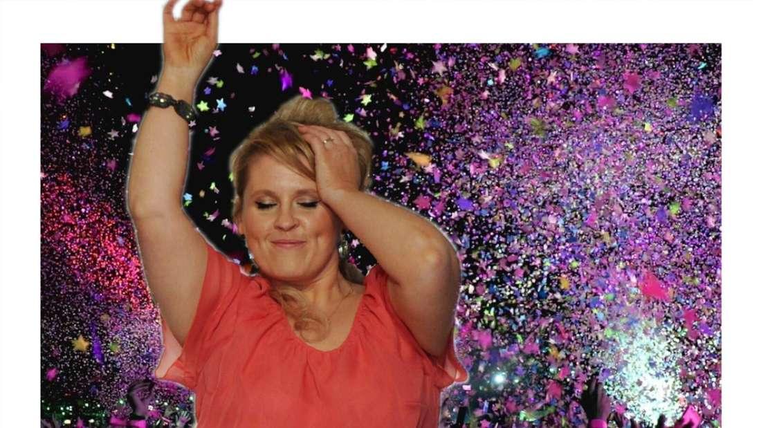 Maite Kelly tanzt vor einem Publikum mit Konfetti-Regen (Fotomontage)