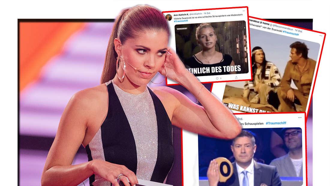 Victoria Swarovski steht bei der RTL-Tanzshow Let's Dance im Coloneum. Twitter-Reaktionen über Victoria Swarovski Schauspiel-Debüts auf dem ZDF-Traumschiff (Fotomontage)