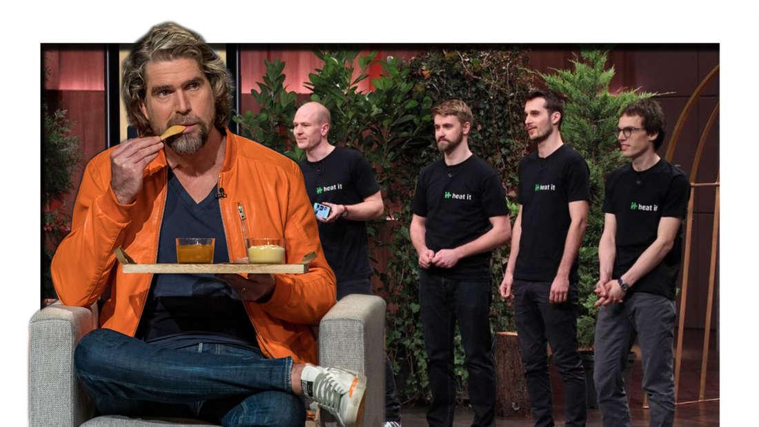 """Fotomontage: Nils Glagau und die Gründer von """"heat-it"""" bei """"Die Höhle der Löwen"""""""