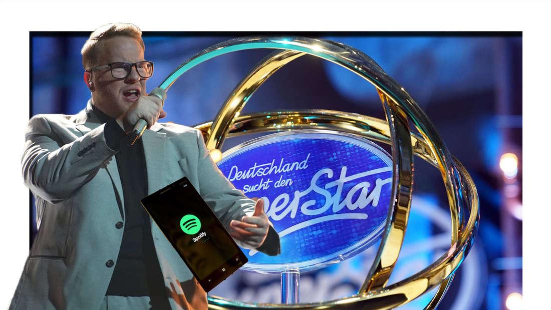Jan Marten steht auf der DSDS-Bühne und singt - neben ihm ist das Spotify-Logo zu sehen, dahinter der DSDS-Pokal (Fotomontage)