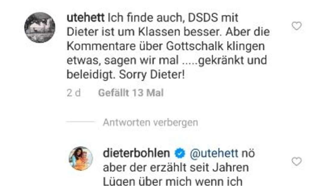 Screenshot vom Instagramaccount von Dieter Bohlen: er kommentiert die Nachricht einer Followerin