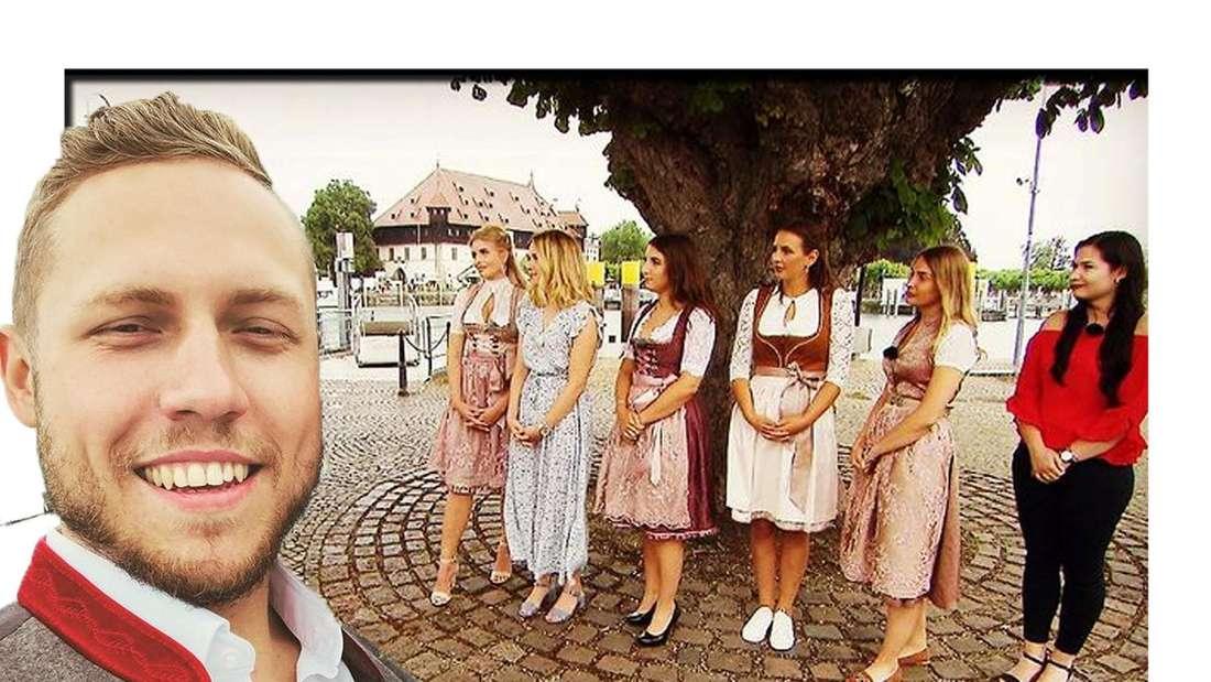 """Patrick Romer grinst in die Kamera - im Hintergrund sieht man seine """"Bauer sucht Frau""""-Kandidaten"""