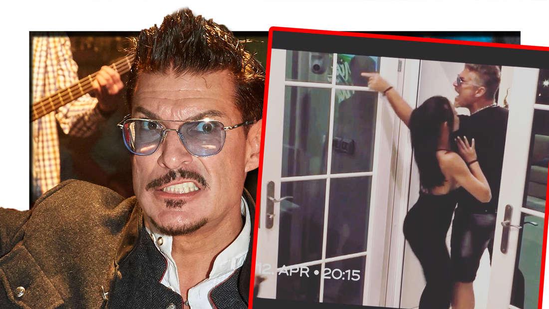 """Fotomontage: Chris Töpperwien verzieht scheinbar aggressiv das Gesicht, daneben eine Szene aus """"Promis unter Palmen"""""""
