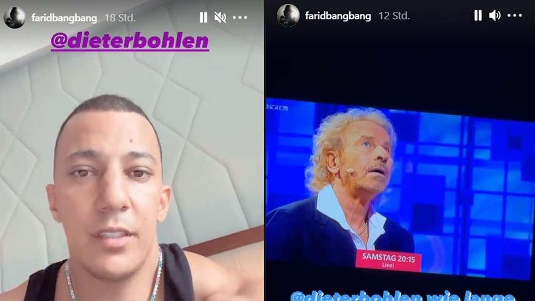 Die Instagram-Story des Rappers Farid Bang, in der er Dieter Bohlen anbietet, einen Disstrack gegen Thomas Gottschalk zu schreiben