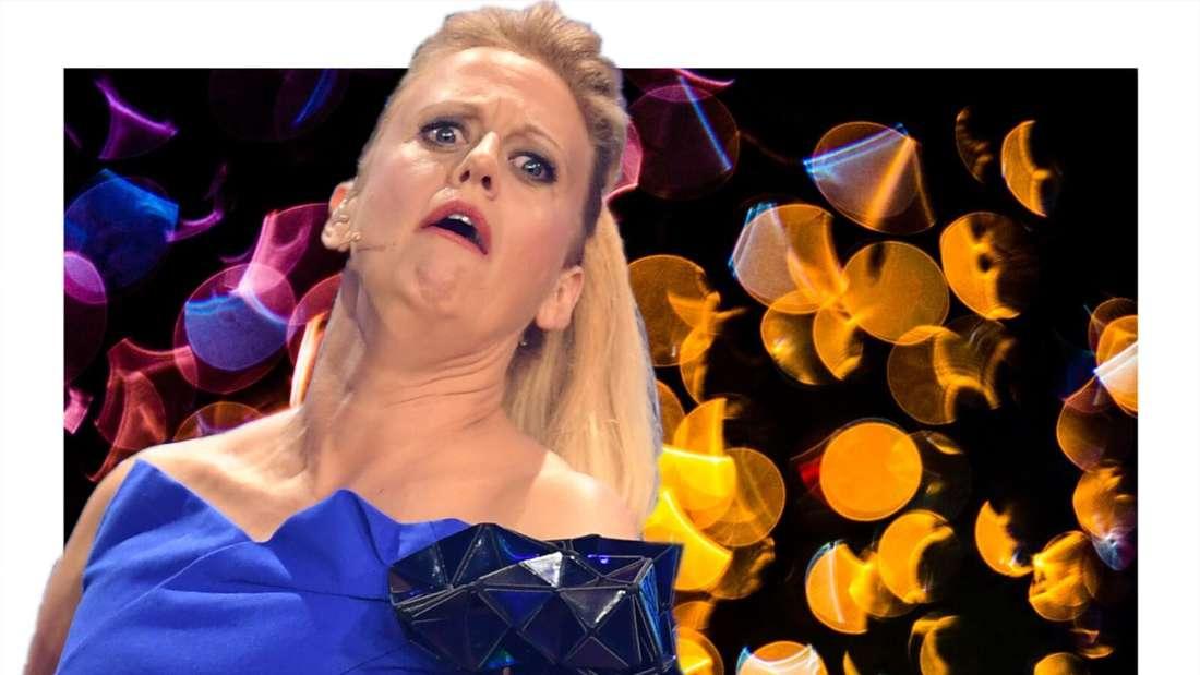 Barbara Schöneberger schaut verwirrt vor einem bunten Hintergrund (Fotomontage)
