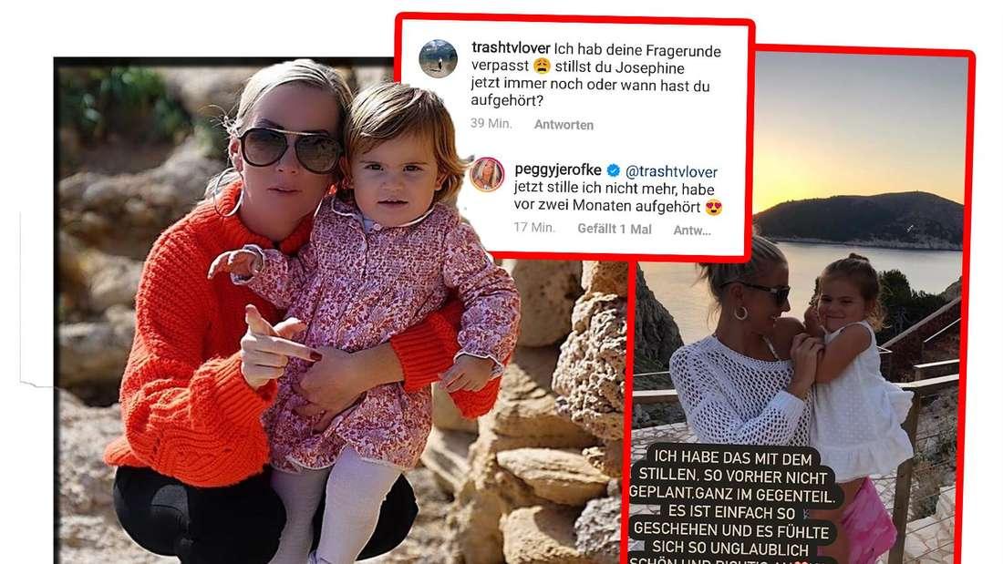 Fotomontage: Peggy und Josephine, daneben zwei Screenshots von Instagram