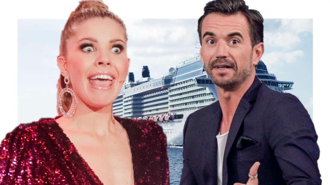 Florian Silbereisen und Victoria Swarovski schauen überrascht, im Hintergrund ein Kreuzfahrtschiff (Fotomontage)