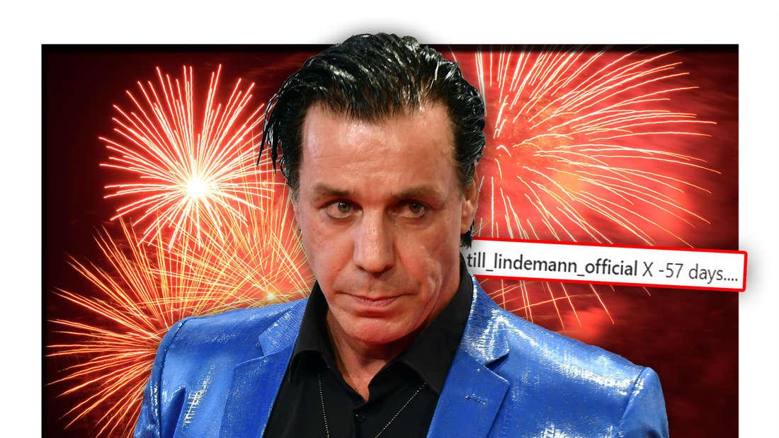 """Rammstein-Frontmann Till Lindemann steht vor einem bunten Feuerwerk, daneben die Worte """"X -57 days...."""" von seinem Instagram-Profil (Fotomontage)"""