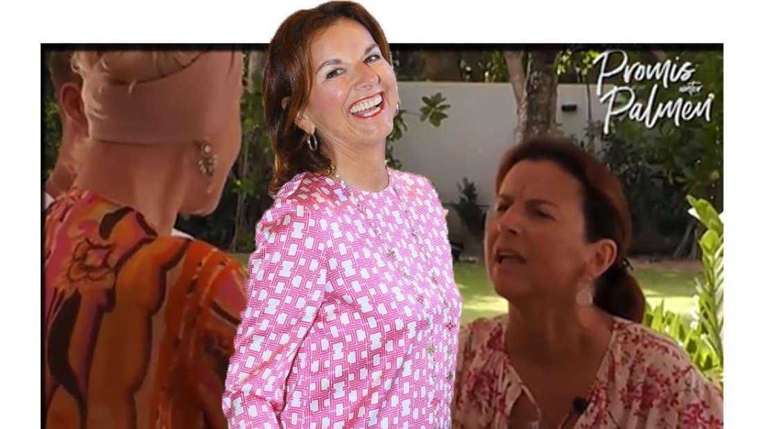 """Claudia Obert lacht in die Kamera - dahinter ist eine Szene aus der TV-Show """"Promis unter Palmen"""" zu sehen (Fotomontage)."""