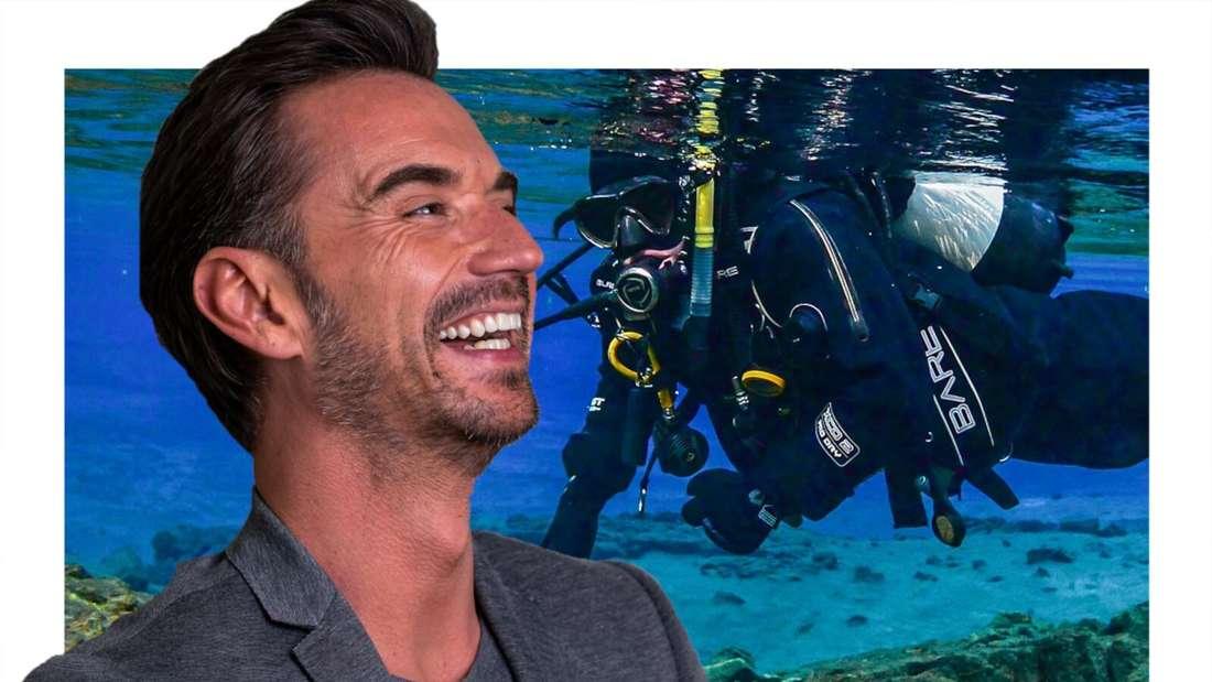 Florian Silbereisen lacht, neben ihm ein Taucher unter Wasser (Fotomontage)