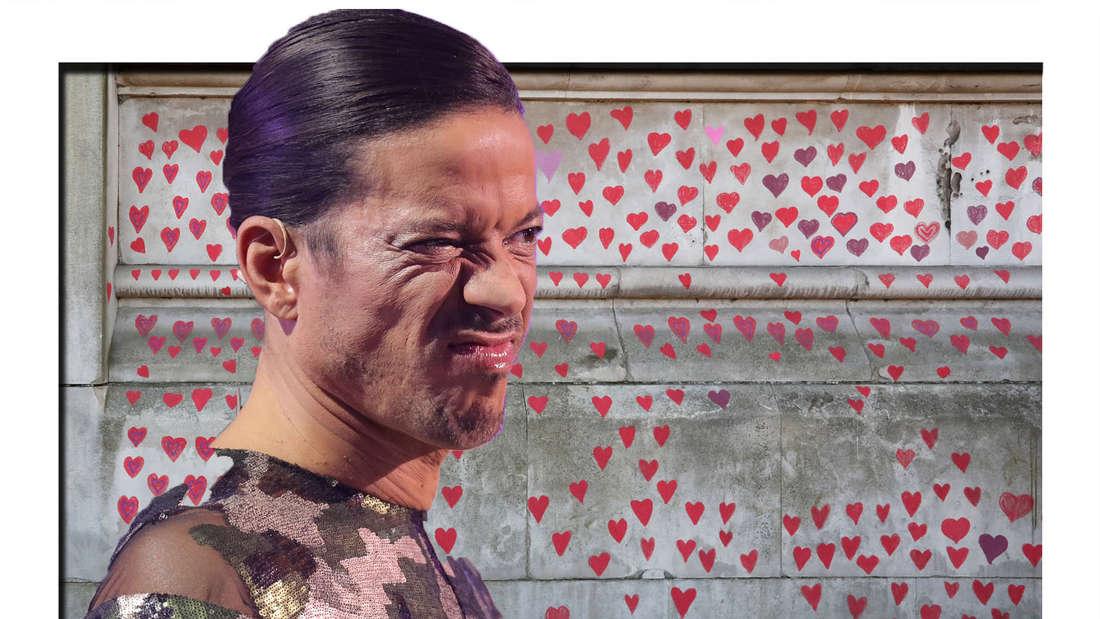 Jorge González schaut unsicher in die Kamera - im Hintergrund sieht man Herzen (Fotomontage)