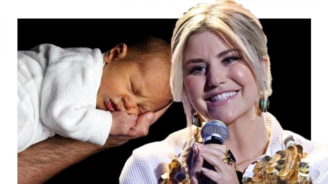 Beatrice Egli schaut gerührt auf ein Baby, das auf einer Hand liegt (Fotomontage)
