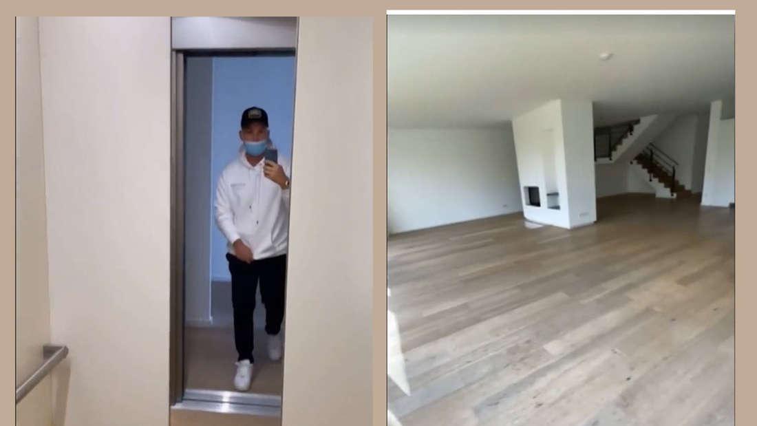 Fotomontage: Pietro Lombardi im Fahrstuhl und Wohnzimmer von seiner neuen Villa