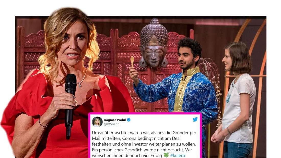 """Fotomontage: Dagmar Wöhrl und """"Kulero"""" Gründer bei """"Die Höhle der Löwen"""" mit Twitter Screenshot"""