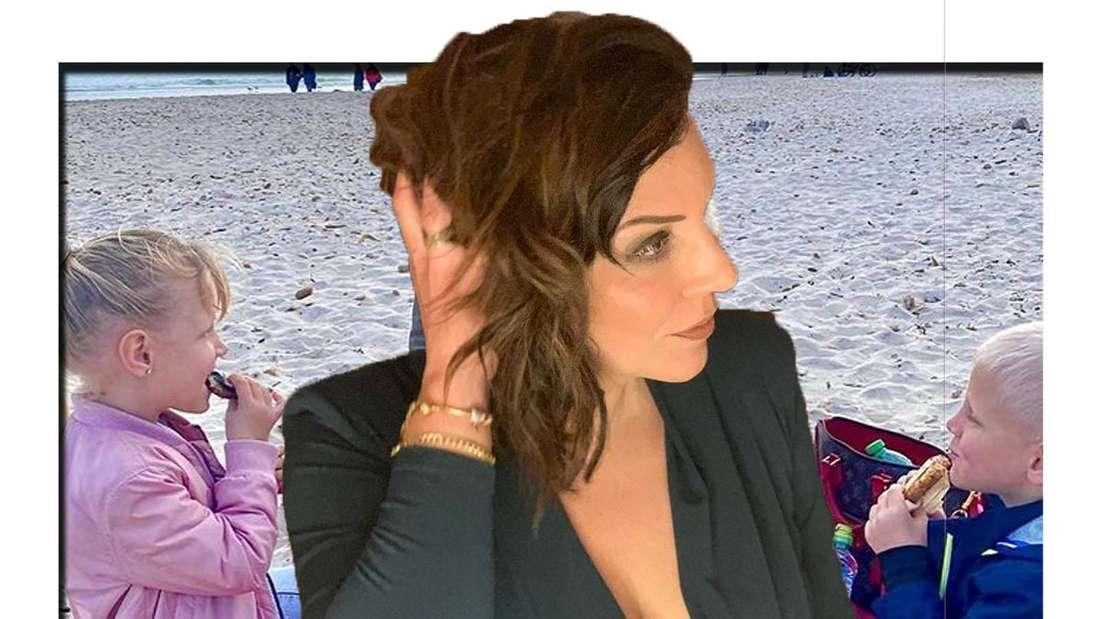 Danni Büchner schaut seitlich in die Kamera - im Hintergrund sind ihre Zwillinge zu sehen (Fotomontage).