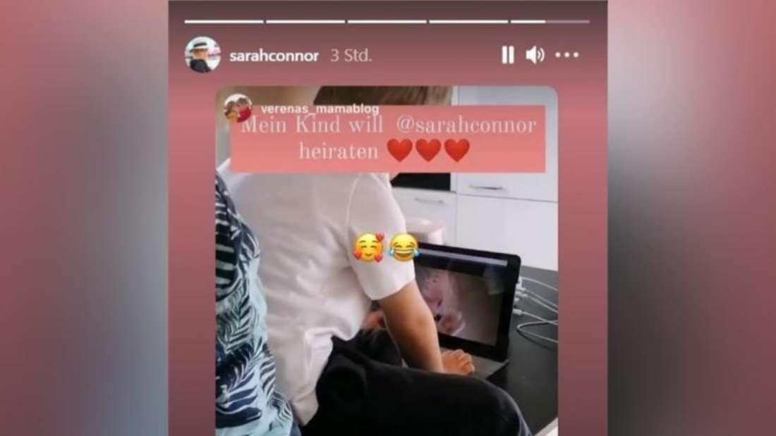 Instagram-Story von Sarah Connor, in der den Beitrag eines jungen Verehrers repostet