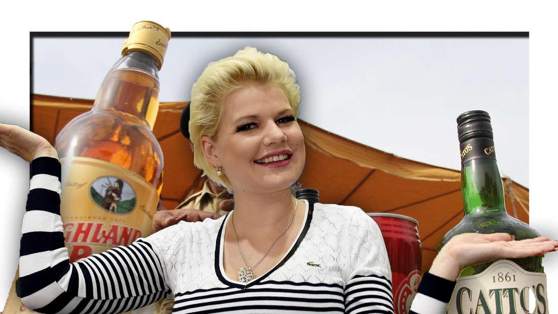 Melanie Müller, im Hintergrund Alkohol (Fotomontage)