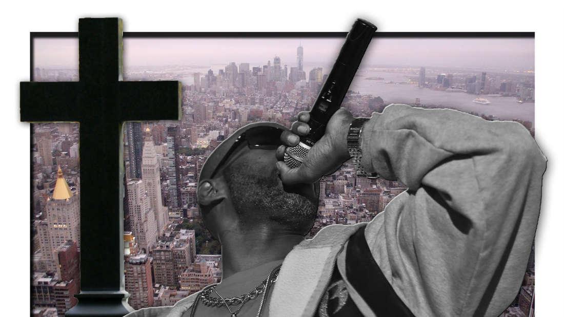 Der verstorbene Rapper DMX steht neben einem Grabstein vor der US-Metropole New York (Fotomontage)