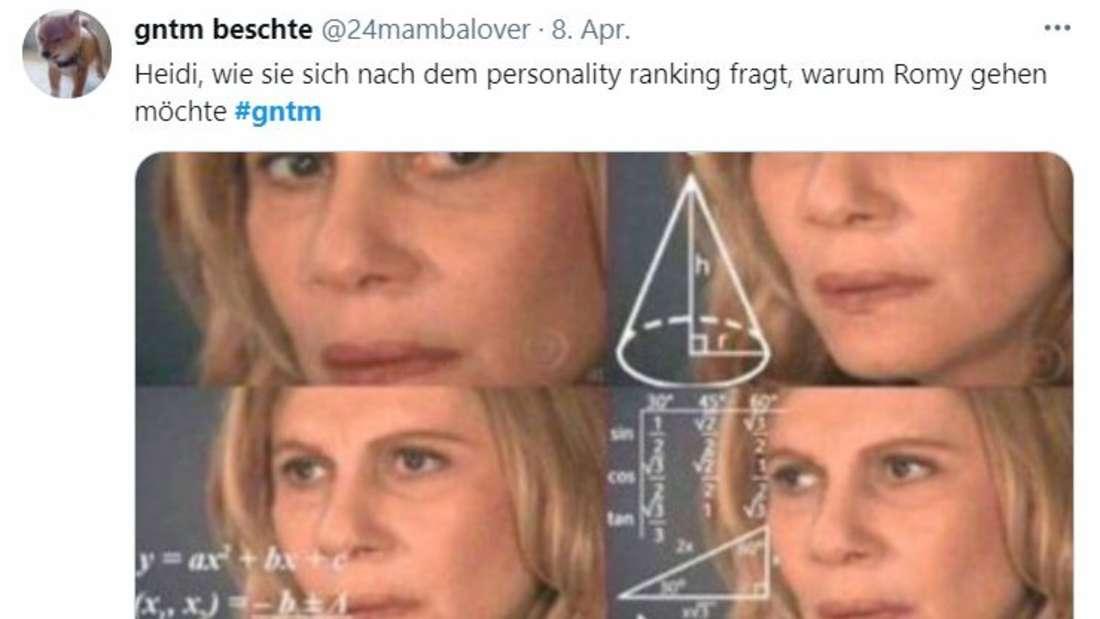 Eine Frau schaut verwirrt auf Formeln und Formen