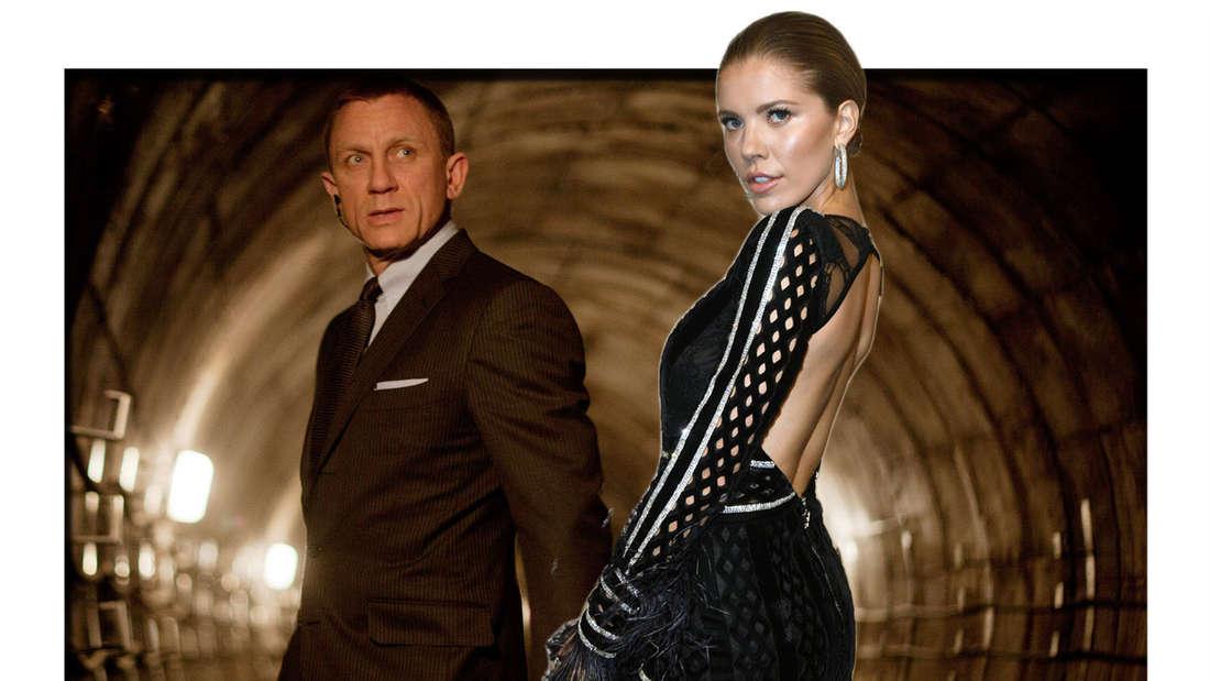 Fotomontage: Daniel Craig als James Bond in Skyfall Filmszene und Victoria Swarovski