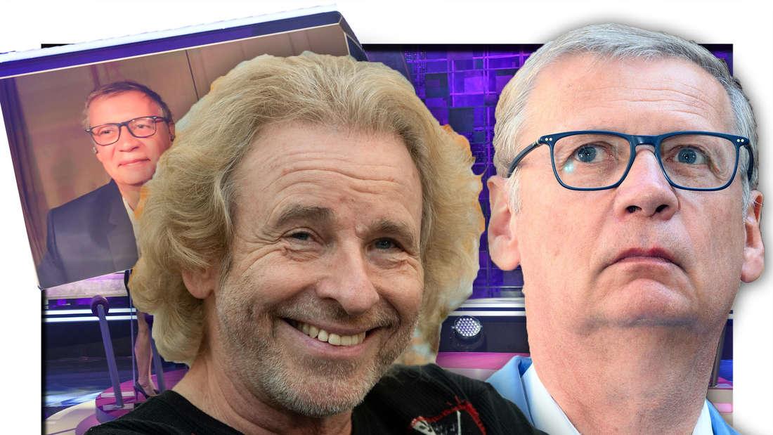 Thomas Gottschalk grinst, Günther Jauch schaut nach oben (Fotomontage)